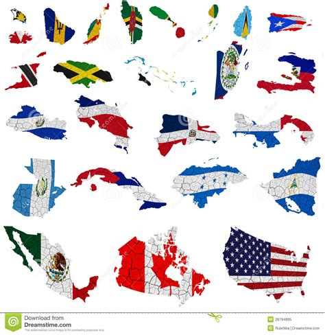 north america map with flags north america countries flag maps royalty free stock photo