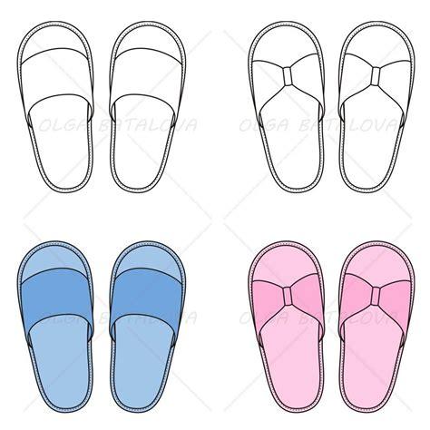 unisex house slippers fashion flat template illustrator