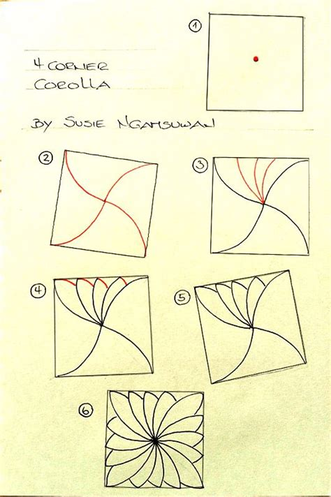 doodle pattern step by step step out to new zentangle pattern 4 corner corolla