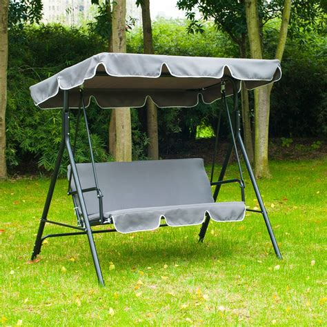 swing bench uk outsunny swing chair 3 seater cushioned bench aosom co uk