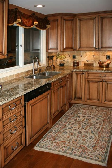 maple kitchen cabinets with burnt sugar glaze brown