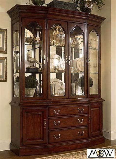 lighted cherry china cabinet hutch buffet ebay