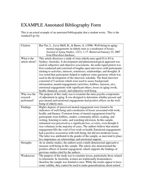 annotated bibliography exle mla citation example