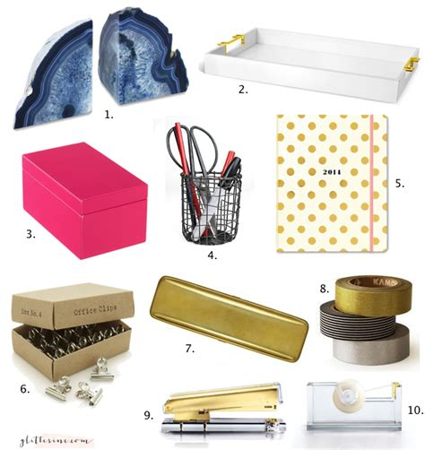 grown up office supplies and desk accessories gold