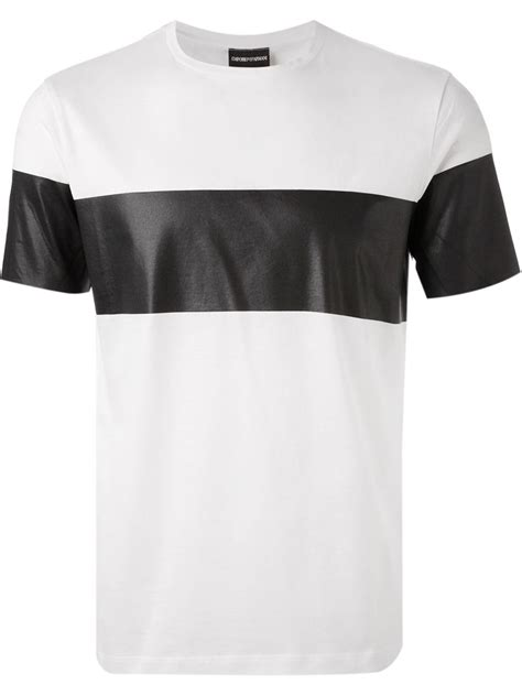 tshirt armani iii lyst emporio armani contrasting stripe t shirt in white