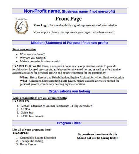 Business Plan Template For Non Profit free non profit business plan template search engine at search