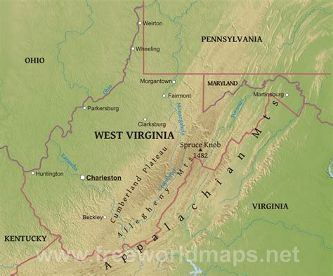 physical map of virginia physical map of west virginia