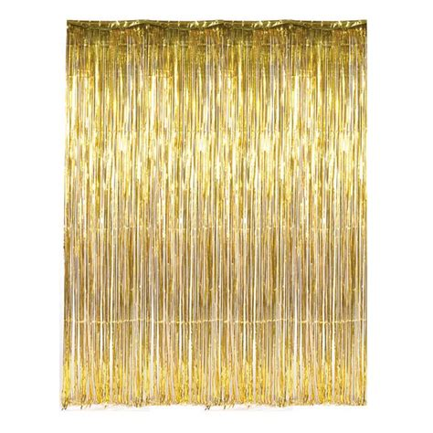 metallic silver foil fringe curtains dr69268 gold foil fringe curtain