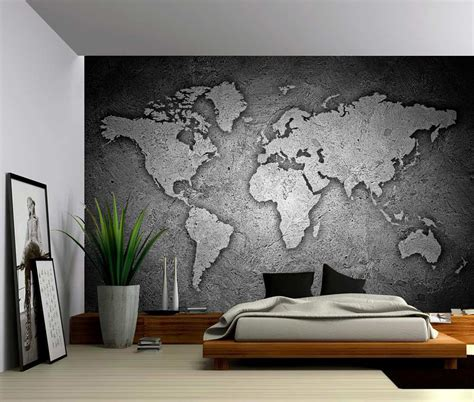 fabric murals for walls black and white texture world map self adhesive