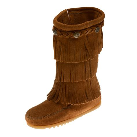 minnetonka moccasins boots minnetonka moccasins 2652 children s 3 layer fringe boot