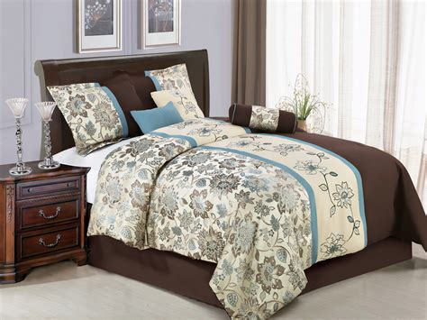 blue and beige bedding 7 pc jacquard embroidery flower striped comforter set