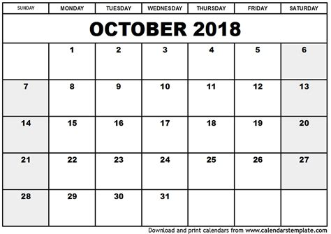 printable calendar october 2017 cute cute october 2018 calendar printable journalingsage com