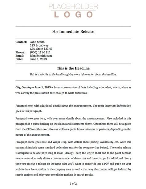 press packet template 17 best ideas about press release on in