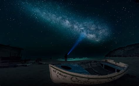 sandy beach  night time boat sky star digital art
