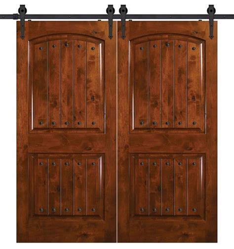 Double Knotty Alder 2 Panel Barn Doors 6 8 Quot Tall Rustic Barn Doors And More