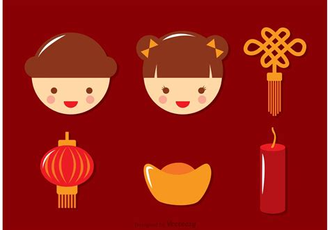 new year character vector flat lunar new year icons vector free