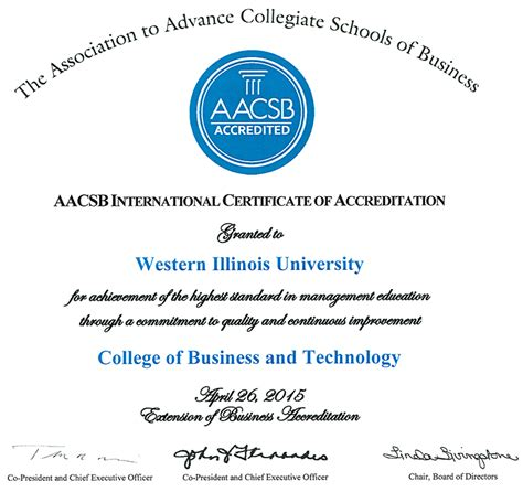 Aacsb Accredited Mba Degree by Accreditation College Of Business Technology Western
