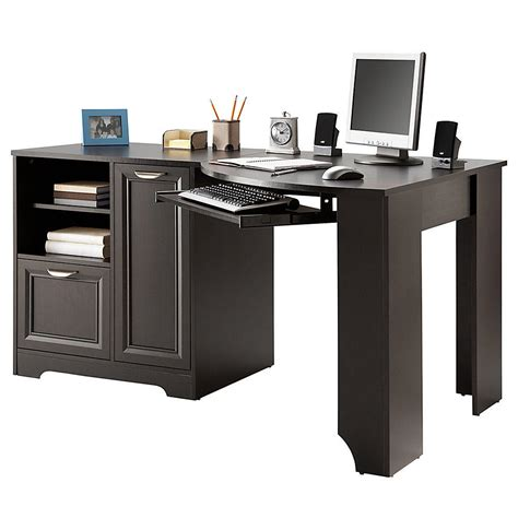 magellan espresso l shaped desk realspace magellan collection corner desk from office depot