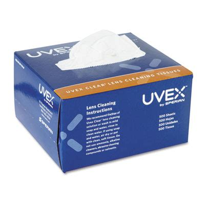 uvex clear lens cleaning tissues 500 box uvxs462