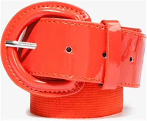 forever 21 faux patent leather waist belt in orange coral