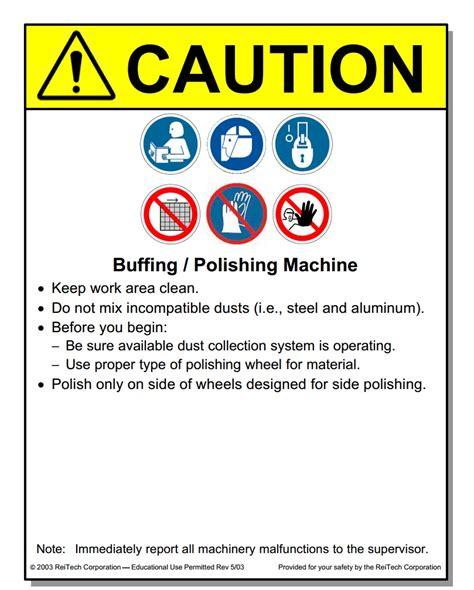 Work Bench Surface Metal Working Machine Placards Machine Safety Management