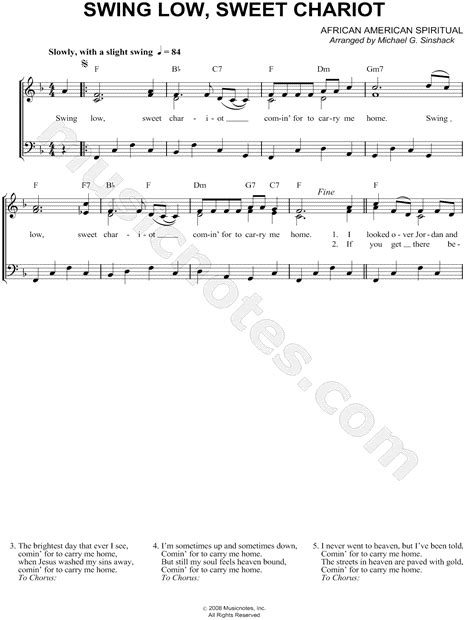 swing notes american spiritual quot swing low sweet chariot