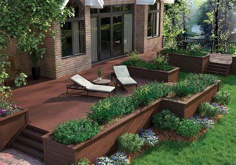 composite deck   flower beds   railing