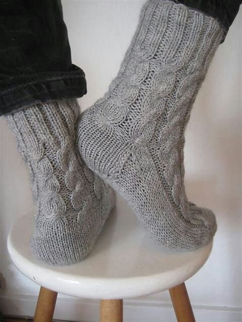 knitting pattern thick socks shows the heel and back of sock without looking awkward