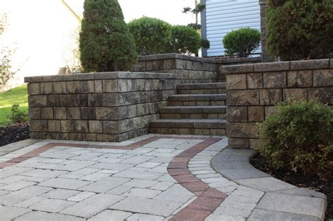Unilock Landscaping Unilock Paver Patio With Colored Border Traditional