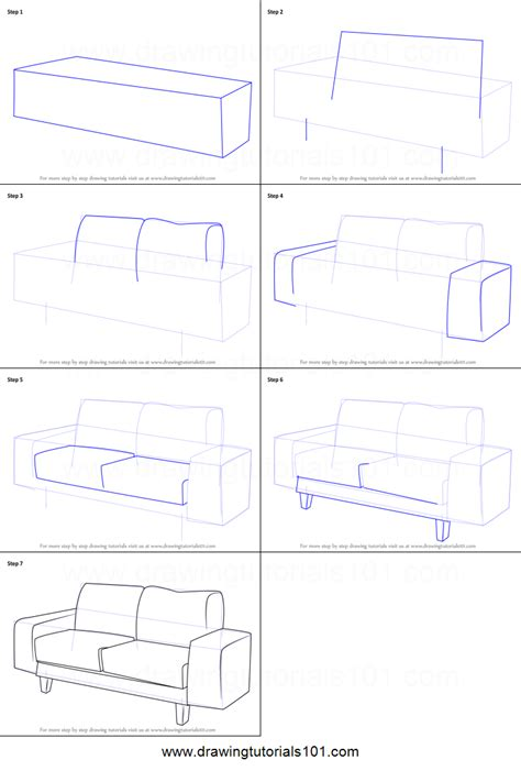 How To Draw A Couch Printable Step By Step Drawing Sheet