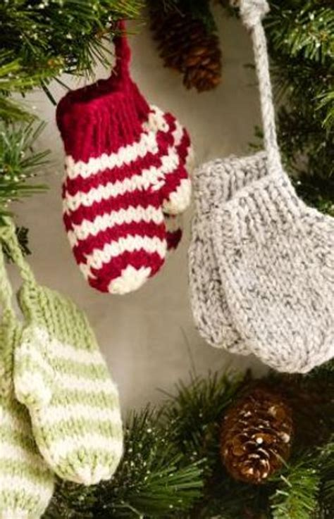 knitted christmas decorations knit mitten ornaments favecrafts