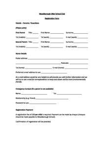 woodborough  school club registration form woodborough primary school
