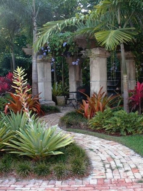 florida backyard landscaping ideas old stones used as columns for rustic pergola in a msouth