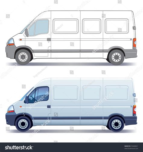 van layout vector white commercial vehicle delivery van colored and
