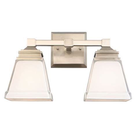 hton bay bathroom lighting hton bay landray 2 light brushed nickel vanity light
