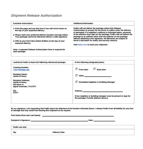 10 Ups Signature Release Form Templates To Download Sle Templates Shipping Form Template