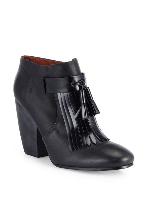 black fringe ankle boots comey alley leather fringe ankle boots in black lyst