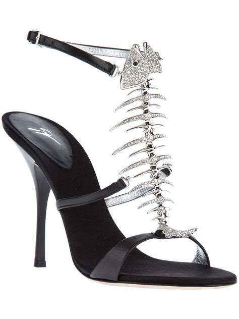giuseppe zanotti fish sandals giuseppe zanotti fish bone sandal in black lyst