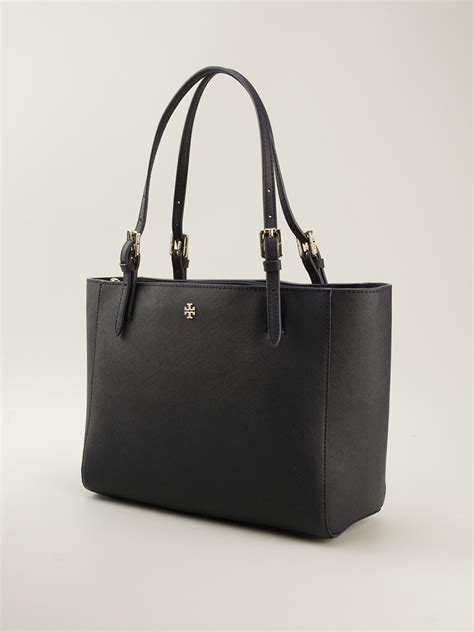 Tote Bag York Buckle 1573 burch small york buckle tote in black lyst