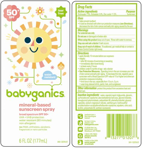 Babyganics Sunscreen Spray Spf50 177ml For Sunblock Krim Matahari dailymed babyganics sunscreen 50 spf octinoxate