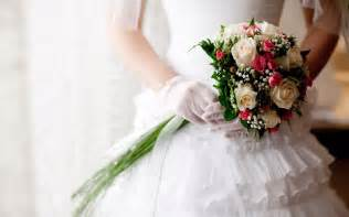 Wedding dress roses white bouquet hd wallpapers