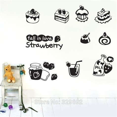 Wall Sticker Zs092 Strawberry In Garden free shipping fall in strawberry wall stickers home