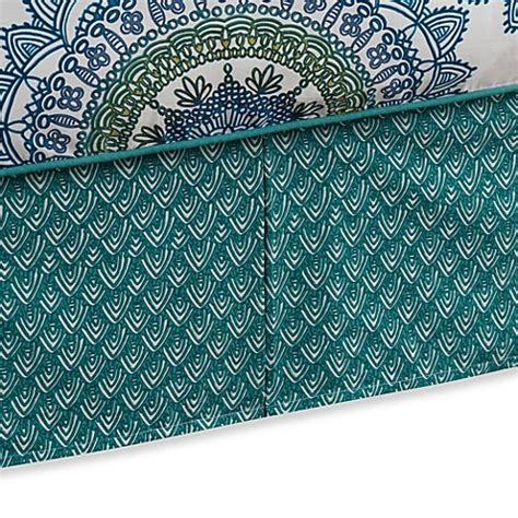 anthology bungalow bedding anthology bungalow bed skirt in teal bed bath beyond