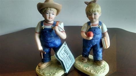 home interior denim days figurines vintage homco home interiors old man woman couple farmer figurines 1426 what s it worth