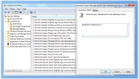 create a logon message using policy in windows 7 8