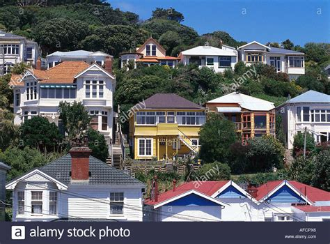 houses to buy new zealand victorian houses oriental bay wellington north island new zealand stock photo