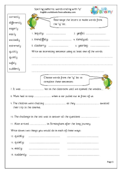 ly pattern words ly word endings english worksheet for key stage 1