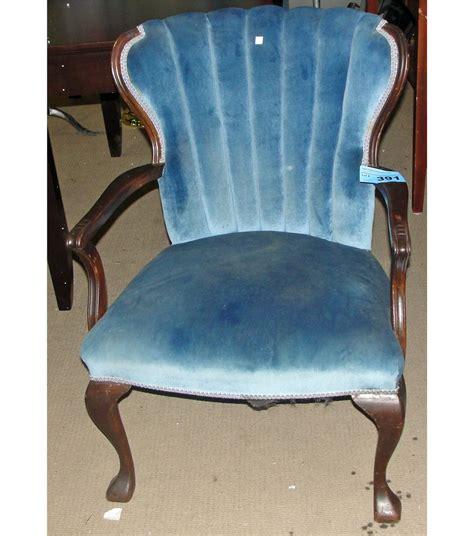 armchair fan antique blue valour upholstered fan back arm chair