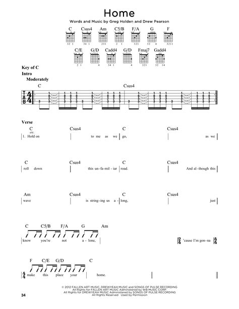 home by phillip phillips guitar lead sheet guitar