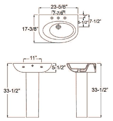 Pedestal Sink Dimensions Barclay Porcelain Regular And Corner Pedestal Sinks